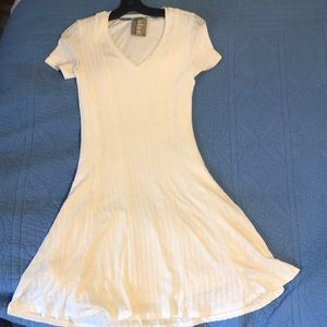 Anthropologie ivory short sleeve sweater dress